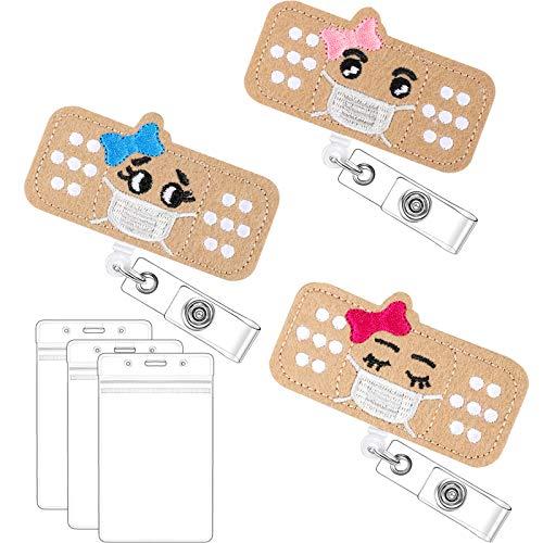 Felt Nurse Badge Reel and ID Card Holders Set, 3 Retractable Bandage Badge Holder with Alligator Clip 3 Nursing Name Badge Holders for Nurses Students Doctors (Closed Eye Style)
