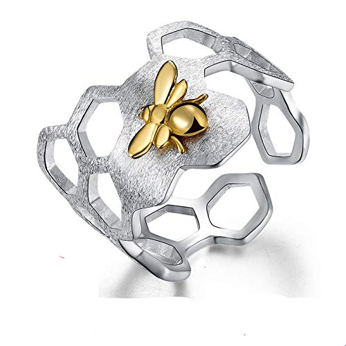 yitao Open Ring 925 Sterling Silver 18K Gold Bee Rings Natural Designer Fine Jewelry Home Honeycomb Open Ring for Women