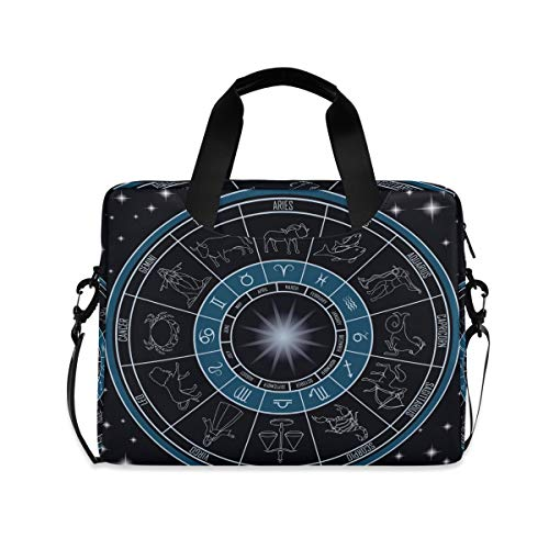 PUXUQU Laptop Bag Horoscope Circle with Zodiac Signs Laptop Case for 14-15.6 Inch Computer and Tablet Shoulder Bag Carrying Case for Work Office School