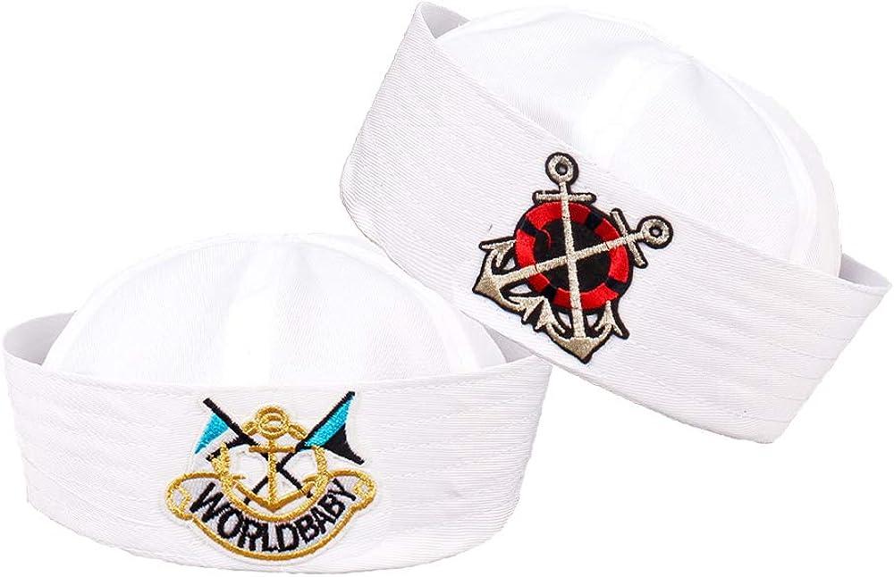 Perktail 2 Pack Kids Sailor Anchor National uniform free shipping Sailing C Hats Nautical Party Ultra-Cheap Deals