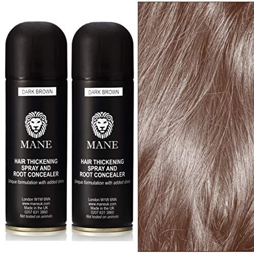 Mane Hair Thickening Spray épaississant/Retouche Racines – 200 ml (Dark Brown) Lot de 2