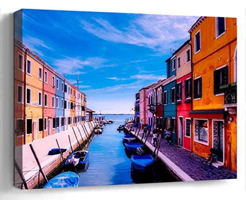 Wall Art Canvas Print Photo Artwork Home Decor (24x16 inches)- Burano Venice Italy Vacation Holiday Tourism