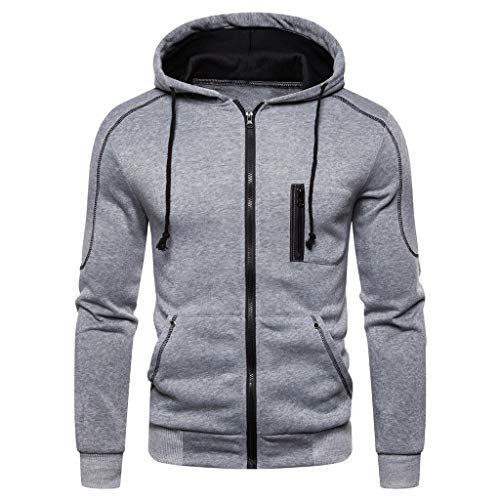 UINGKID Chaud Sweat Capuche Hommes Sweatshirt à Manche Longues Mode Zippé Haut Outwear Manteau Blouson pour Automne Hiver Grande Taille M-3XL