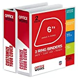 3 Ring Binder, Professional D Ring '6 - Inch Binder', Presentation Folder 8.5 x 11 with Pockets, Durable, Non - Stick Customizable Clear View Cover, White Binder, 2 Pack