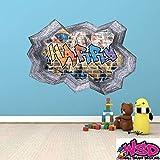 Personalisiert 3D Multi Farbe Graffiti Personalisierter Name Ausgebrochenes Ziegelstein Optik Wand Kunst Aufkleber mit Grauer Bordüre für Teenager Mädchen und Jungen WSDPGN115