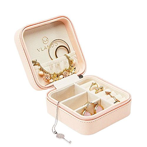 Vlando Small Faux Leather Travel Jewelry Box Organizer Display Storage Case for Rings Earrings Necklace, Pink