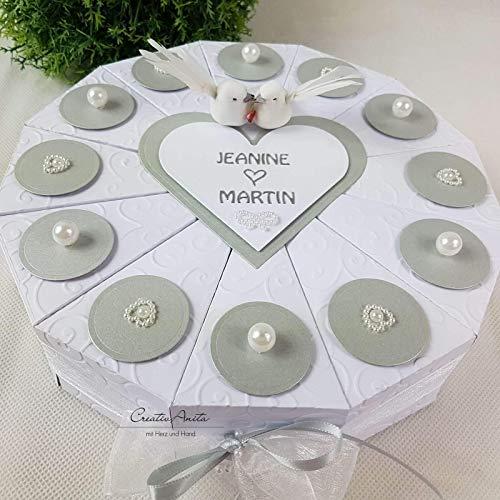 Schachteltorte PERLENHOCHZEIT WEISS-SILBER Geldgeschenk Hochzeit Torte