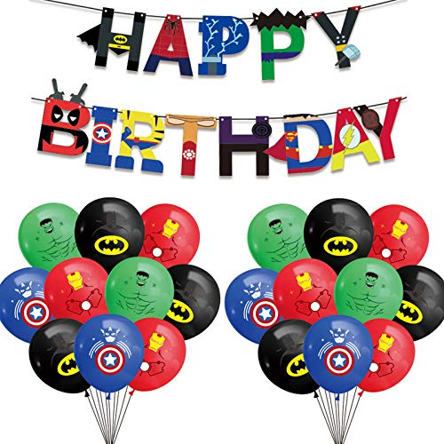 25 Pieces Superhero Party Supplies Kit, Superhero Birthday Garland Banner and Latex Balloons, Superhero Avengers Party Supplies, Superhero Theme Party Decorations, Party Favors for Kids Birthday