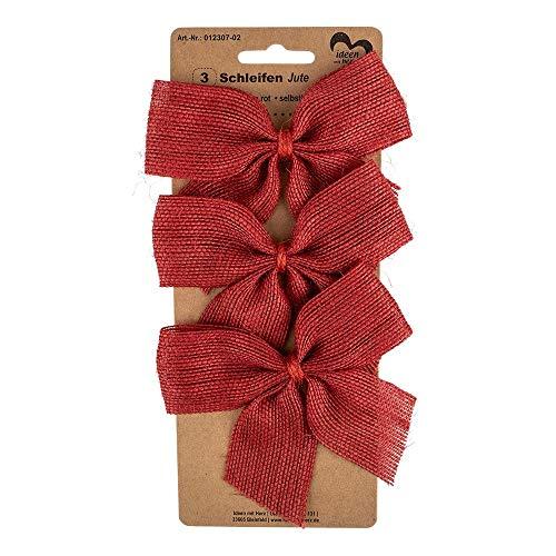 Ideen mit Herz Geschenk-Schleifen aus Jute | selbstklebend | Ideal zum Schmücken und Verzieren von Geschenken zu Weihnachten, Geburtstag, Hochzeit (11 x 9,5 cm | rot | 3 Stück)