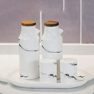 SPNEC Céramique Marbre Huile Vinaigre Sauce Pot Distributeur Bouteille de soja en Porcelaine Saison Poivre épices Pot Outi...
