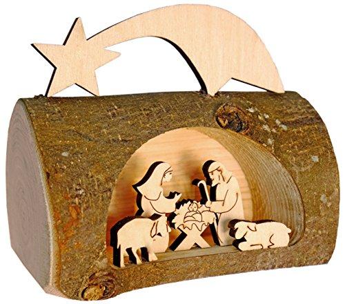 Kaltner Präsente-Regalo Idea-Belén navideño de Madera con Jesús, María y el Niño en un árbol Tronco con Corteza