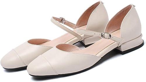 ZYN-XX Baotou Chaussures Couleur Assorcravate Tete Ronde Chaussures Peu Profondes Chaussures Plates Chaussures à Une Boucle en Cuir Baotou Sandales à Talons