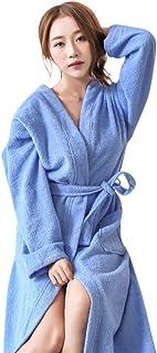 0e7ebd6ac4df9 KEERADS- Peignoir de Bain à Capuche en Polaire Douce Hommes & Femmes -  Tailles M-XL - Blanc Bleu Coloris - Polaire Flanelle Robe de Chambre pour  en Coton ...
