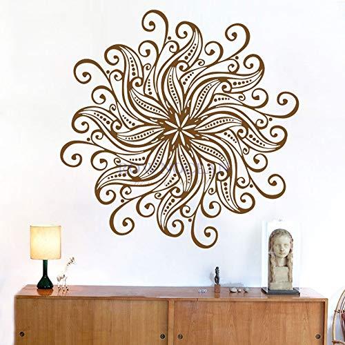 zhuziji Mädchen Wandkunst Aufkleber , Namaste Symbol Mehndi Muraux Stechapfel wasserdicht selbstklebend Kindergarten, Mall Wall Sticker57x57cm
