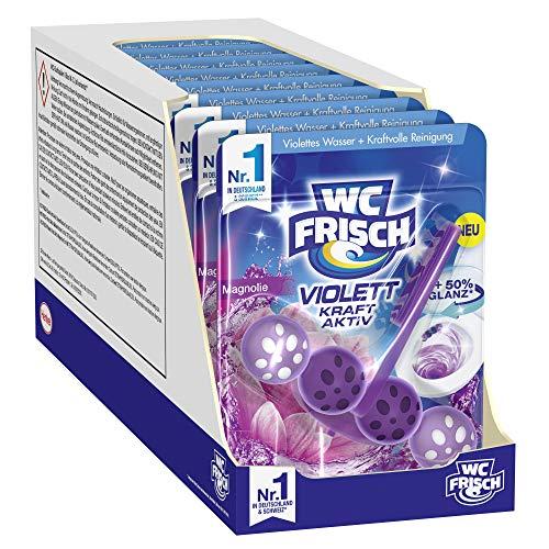 WC FRISCH Kraft Aktiv Violettspüler Magnolie (10er Pack), WC Reiniger für eine sichtbare Reinigung mit violettem Wasser, Duftsteine für einen intensiven WC Duft