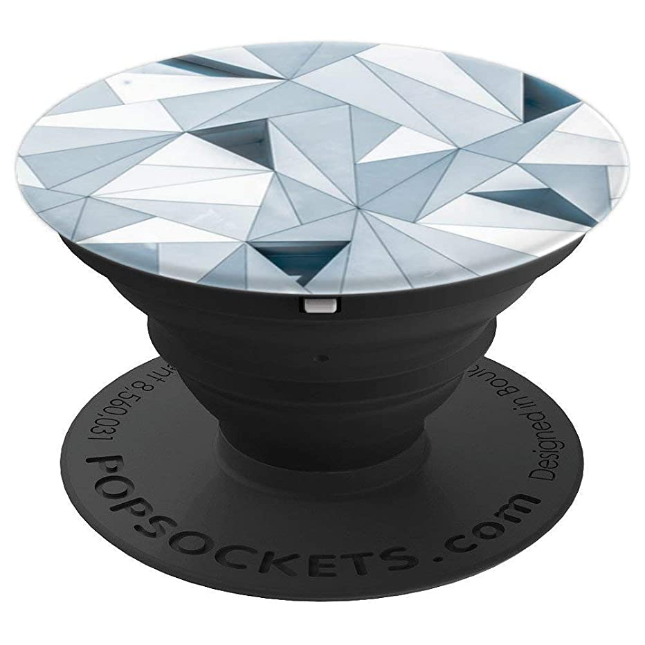 Grey Gray Geometric Women Men - PopSockets Grip and Stand for Phones and Tablets