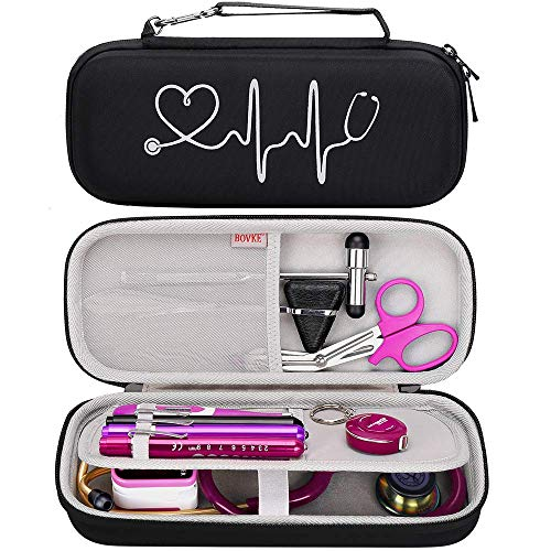 BOVKE Travel Case for 3M Littmann Classic III, Lightweight II S.E, Cardiology IV Diagnostic, MDF Acoustica Deluxe Stethoscopes - Extra Room for Taylor Percussion Reflex Hammer and Penlight, Black