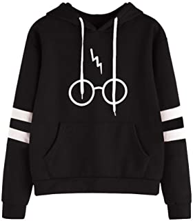 Women Long Sleeve Harry Potter Glasses Print Drawstring Kangaroo Pocket Fleece Pullover Hooded Sweatshirt