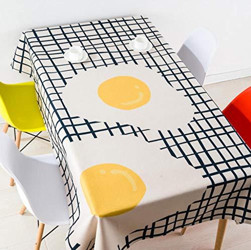 XCZMZ Tischdecke Moderner Tischdeckenbezug aus Baumwoll-Leinen mit Eierdruck für quadratische und rechteckige Familienparty-Banketttische 140x140cm