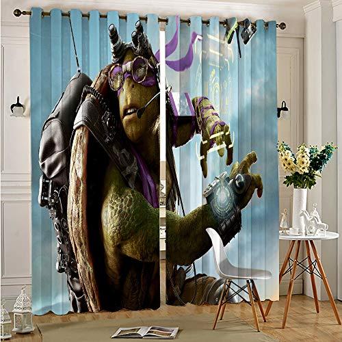 DONEECKL Cortinas con bloqueo de luz para sala de estar, tortugas ninja mutantes para sala de estar o dormitorio, 137 x 163 cm, cortinas opacas con ojales en la parte superior