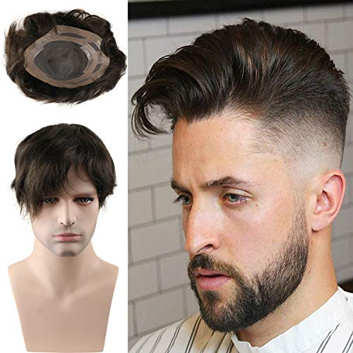 Rossy&Nancy Toupee for men Hair pieces 100% European virgin human hair replacement system for men 10'x8' human hair toupee men hair piece #18 Light Brown Color