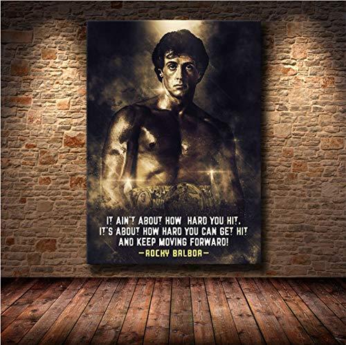 danyangshop Schwarz Und Weiß Rocky Balboa Boxen Bodybuilding Malerei Poster Drucke Wandkunst Bild Motivierende Wohnzimmer Dekor (40X60Cm) Ohne Rahmen