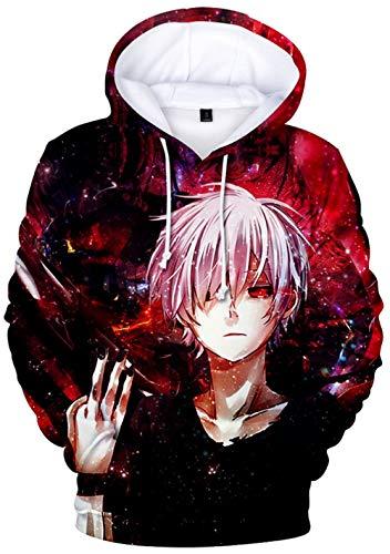 YOYOSHome Anime Tokyo Ghoul Cosplay Kaneki Ken Sudadera con Capucha para Disfraz, suéter y pulgas - Multicolor - 4X-Large