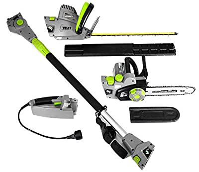 "Earthwise CVP41810 7 10"" Handheld Saw-4.5 Amp 17"" Pole Hedge Trimmer 4-in-1 Multi Tool, Grey"