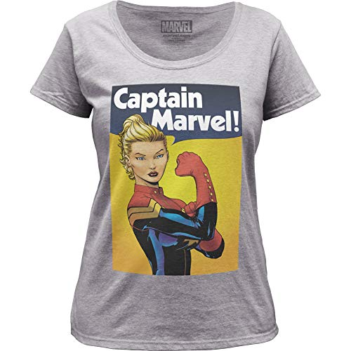 Captain Marvel Riveter - Maglietta girocollo da donna -  grigio mélange -  XX-Large