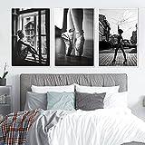 XIAOMA Lienzo pintado para pared en blanco y negro con diseño de bailarina, póster e impresión de mujer con alas, cuadro moderno para salón o dormitorio, decoración sin marco (3 x 60 x 90 cm)