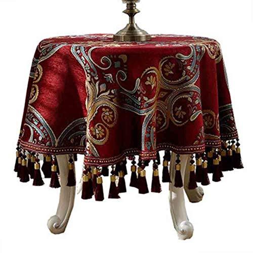 ZIMAwd Mantel Redondo Rojo Vino de Estilo Europeo tafelkleed para decoración del hogar Restaurante el Mantel en la Cubierta de la Mesa