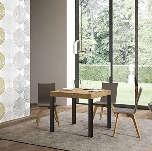 Itamoby, Everyday - Mesa extensible de roble natural, 90 x 90 cm, alargada 246