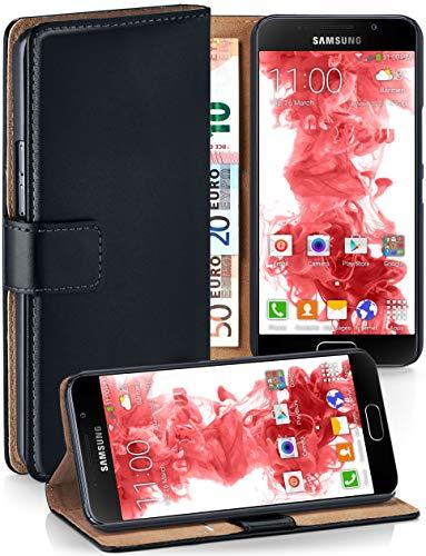 moex Premium Handytasche kompatibel mit Samsung Galaxy A5 (2016) - Klapphülle mit Kartenfach und Ständer, magnetische Handy Tasche - Flip Case Schutzhülle, Schwarz