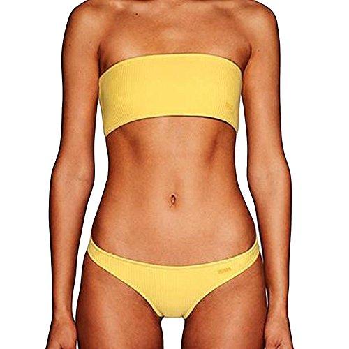 Cinturón sin Tirantes de Dos Piezas, Bikini Transwen, para Mujer, sin Hombros, Push-up, Acolchado, Sujetador para la Playa, Bikini, Set de baño Sexy, Traje de baño Amarillo S