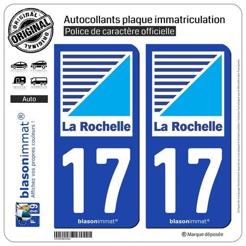 Blasonimmat - 2 pegatinas para placa de matrícula de coche 17 La Rochelle – Agglo