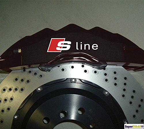 SUPERSTICKI 4 x S-LINE Bremsen Aufkleber Hitzefest!!! Bremsenaufkleber Sticker Decal für Bremsen aus Hochleistungsfolie Aufkleber Au