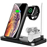 HZQDLN Wireless Charger, 4 in 1 Wireless Charging Station Dock for Apple iWatch Series Se 6 5 4 3 2 1, AirPods Pro and Pencil, Charging Stand for iPhone 11, 11 Pro max, Xr, Xs max, X (Black)