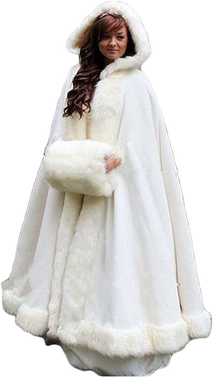 Portsvy Long Wedding 爆売りセール開催中 Capes Faux Fur Bride Winter Cloak Ou Hooded メーカー直売
