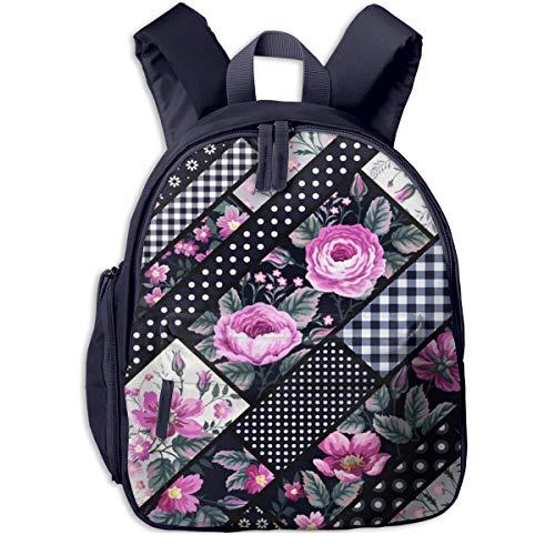 Mochilas Infantiles, Bolsa Mochila Niño Mochila Bebe Guarderia Mochila Escolar con Brunch Check Patchwork Floral para Niños De 3 a 6 Años De Edad