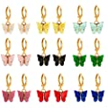 9 Pairs Of Butterfly Earrings, Acrylic Colored Earrings Women And Girls Fashion Jewelry Gift (Gold1)