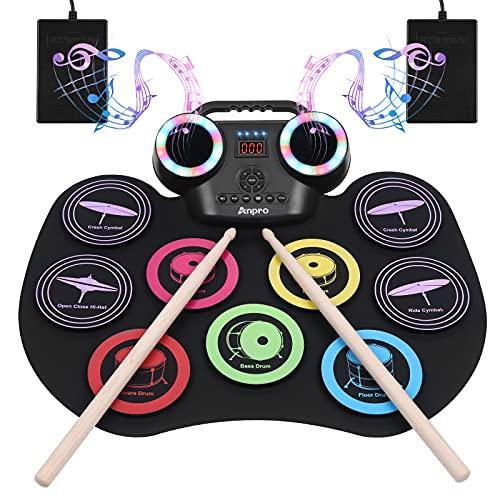 Anpro Neunseitiges elektronisches Farbtrommelset, 8PCS-Schlagzeug-Übungsset, tragbares elektrisches Schlagzeug, integriertes Audio mit Kopfhöreranschluss,LED-Farbbildschirm, Bestes Geburtstagsgeschenk