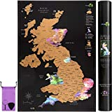 Scratch Off UK Map Poster + Accessories Kit and Gift Tube - Travel Map of the UK in Nebula Watercolour