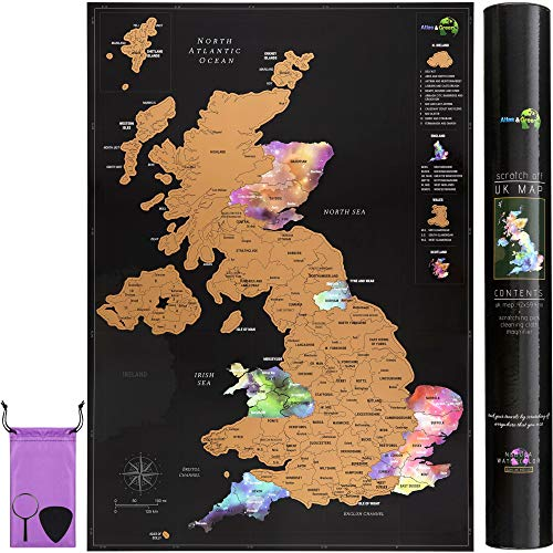 Scratch Off UK Map Poster + Accessories Kit and Gift Tube - Travel Map of...