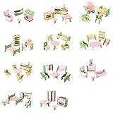 SODIAL 49 Pcs 11 Ensembles Bebe En Bois Meubles Poupees Maison Miniature Enfant Jouets Jouets Cadeaux