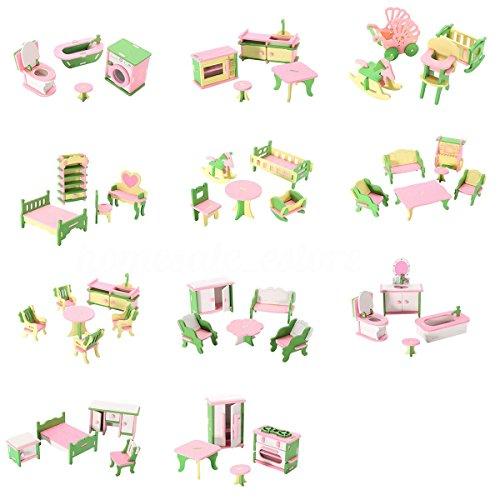 SODIAL 49 pz 11 set bambino in legno mobili casa di bambole in miniatura bambino gioca giocattoli regali