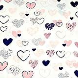 11,99€/m Herz Herzen 100% Baumwolle Baumwollstoff Kinder