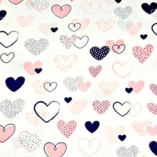 7,98€/m 100% Baumwolle 50x160cm Baumwollstoff Meterware Herz Herzen Handwerken Nähen Stoff (Rosa Pink Schwarz)