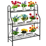 DOEWORKS 3 Tier Metal Plant Stand, Plant Display Rack,Stand Shelf, Pot Holder for Indoor Outdoor Use, Black