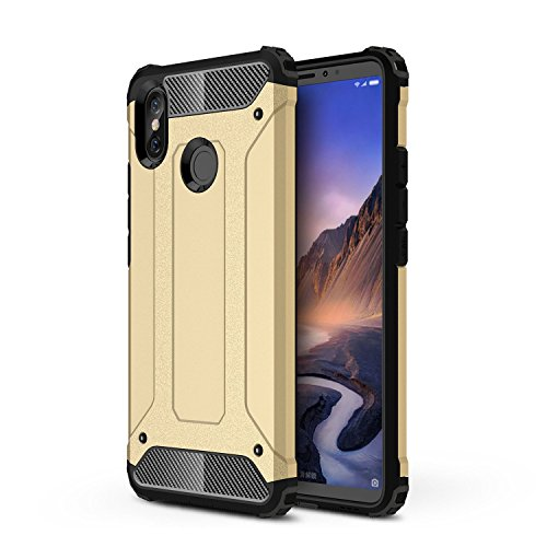 TANYO Compatible con Xiaomi Mi MAX 3 Heavy-Duty Anti-Caída Phone Case, Extraíble 2 en 1 a Prueba de Golpes Robusto y Durable Fashion Ultra-Thin Funda Protectora Dorado.