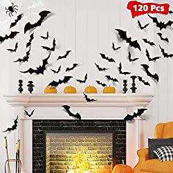 Bat wall stickers for Halloween decorating of a fireplace mantle.
